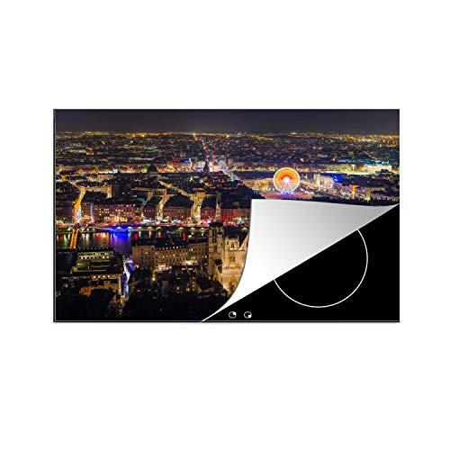 MuchoWow Protège-Plaque à Induction - Vue sur Lyon la Nuit en France - 78x52 cm