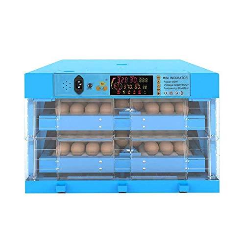ZMXZMQ Incubator voor eieren, 64/128/192/256/320 eieren, incubatiemachine, transparant, eendenkip, intelligent, dubbele voeding, automatisch, blauw, 128 Eggs