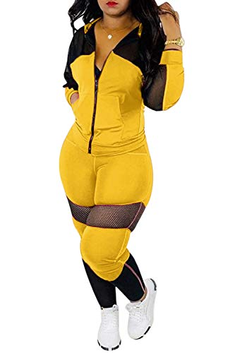 Womens Sexy Mesh Patchwork Zip Up Hoodie Jacket Two Piece Outfits Skinny Long Pants Clubwear Tracksuit Sportswear Set (Yellow, L)