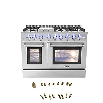 """Thor Kitchen 48"""" Freestanding Gas Range with 6.7 cu. ft. Double Electric Convection Oven - with 6 Burners, Griddle, Convection Fan - Stainless Steel - With LPG Conversion Kit"""