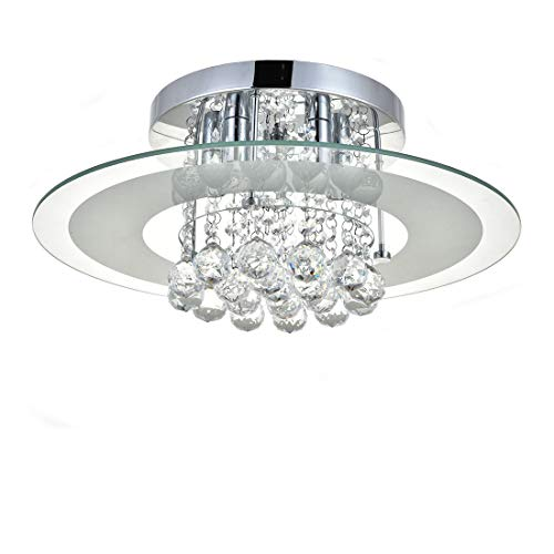 Zeitgenössischer Runder Glas Kristallleuchter, JJGD Clear K9 Kristall Tröpfchen Deckenleuchte, Unterputz LED Pendelleuchte für Esszimmer, Wohnzimmer, Schlafzimmer, Größe D40cm H18cm (Weiß)