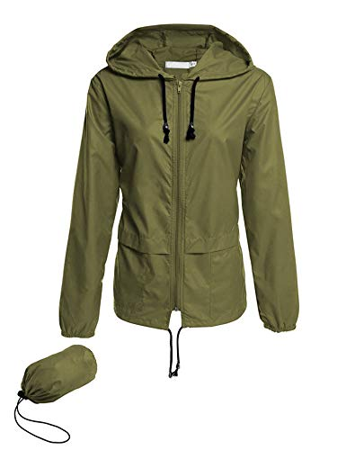 Women's Lightweight Waterproof Rain Coat Active Outdoor Sportswear Jacket Army Green L