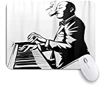 印刷されたマウスパッドジャズピアニスト喫煙葉巻、ゲームプレーヤーオフィス用装飾マウスパッド、デスクの装飾、9.5x7.9インチ
