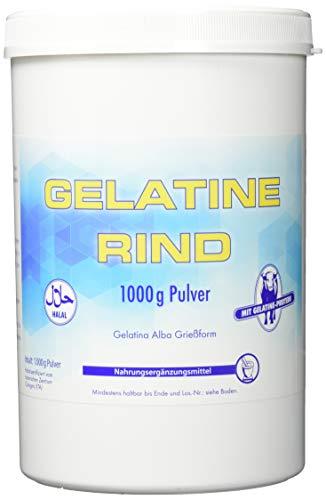 Pharma-Peter GELATINE Rind Pulver Halal - als TRINKGELATINE oder zum BACKEN und KOCHEN geeignet - 1000 g