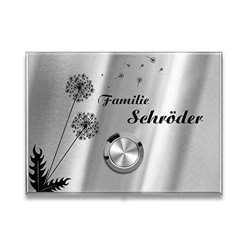Metzler Kabellose Funkklingel - Edelstahl Türklingel mit Pusteblume Motiv - Hoher Reichweite - aus V2A Edelstahl - Größe: 11 x 8 cm
