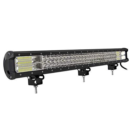 RIGIDON Barra de luz led, 12V 24V 28 pulgadas 396W, 7D Tri fila Barras luminosas led para off road camión coche ATV SUV 4x4 barco, Foco Inundación Combo, lámpara de conducción 6000K