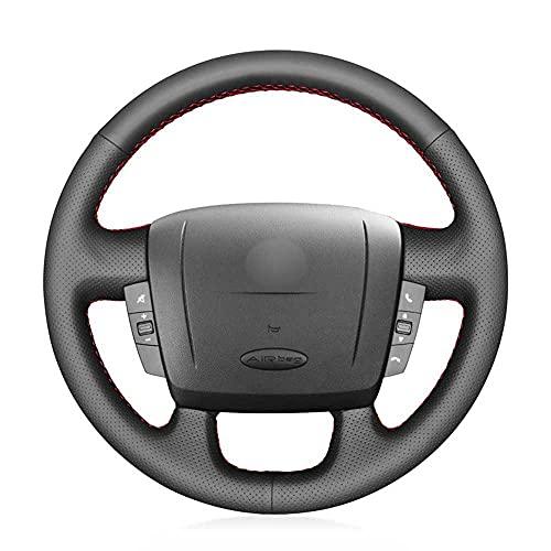 MPOQZI Cubierta del Volante del Coche de Cuero Negro Cosido a Mano, Apto para Peugeot Boxer 2006-2019 Citroen Jumper Relay Fiat Ducato Ram