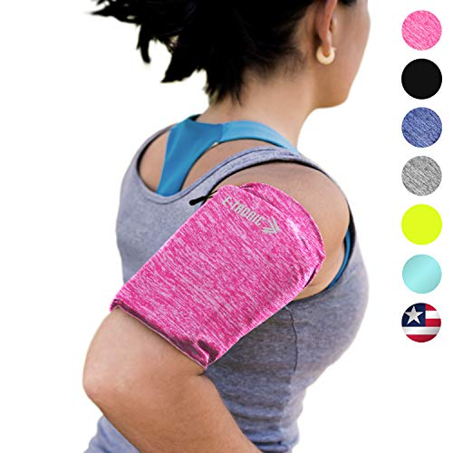 Phone Armband Sleeve Arm Band: Best Running PINK Sports Strap Holder Pouch Case Bag for Exercise Workout Fits iPhone 6 6S 7 8 X Plus iPod Android Samsung Galaxy S5 S6 S7 S8 S9 Note 4 5 Pixel LG (XL)