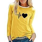 Dorical Damen Basic Rundhals Langarmshirt Falten mit Knopf T-Shirt Schaltflächen Casual Hemd Bluse...