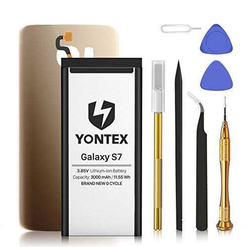 YONTEX Galaxy S7 Akku mit Ersatz Akkudeckel und Reparaturset mit Werkzeug, EB-BG930ABE 3000mAh Ersatzakku 0 Zyklus Batterie für Samsung Galaxy S7 (Gold)