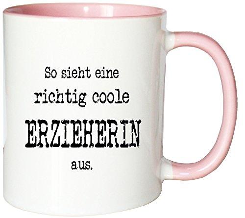 Mister Merchandise Kaffeetasse So Sieht eine richtig Coole Erzieherin aus. Teetasse Becher, Farbe: Weiß-Rosa