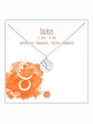 MURANDUM Sternzeichen Halskette | Zodiac Sign Star Constellation Necklace | Damen Kette mit Sternbild Anhänger (Silber, Stier/Taurus)