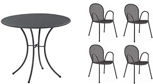 Table pour extérieur Pigalle Kiss diamètre 80 cm + 4 fauteuils ronds, en fer galvanisé et verni à la poudre, couleur fer antique fantaisie 22 – Produit fabriqué en Italie
