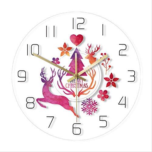 tytlclock Reloj Pared Feliz Navidad,Reloj Pared con Estampado Pintura Ciervos Acuarela,Reloj Pared Moderno Y Simple para Reloj Pared Colgante Vacaciones,Decoración Hogar Año Nuevo