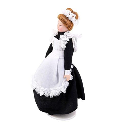 SM SunniMix 1/12 Puppenhaus Puppen - Miniatur Porzellanpuppe Viktorianischen Diener Figur Dekofigur aus Porzellan