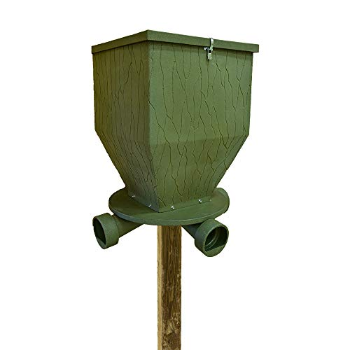 Banks Outdoors Gravity Fed Post Mounted Weatherproof Feed Bank Deer and Game Hunting Feeder with 300 Pound Capacity, Green