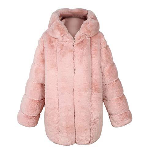 Male god Abrigo de invierno para mujer, coreano, cálido, suelto, de felpa, grueso, con capucha, artificial, color rosa, talla: XL