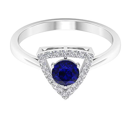 Anillo solitario de oro de zafiro azul de 0,65 quilates, anillo de novia con halo de diamante certificado SGL de 0,16 quilates, anillo de triángulo para mujer, 14K Oro