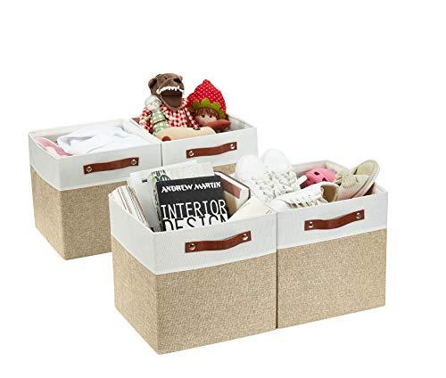DECOMOMO Foldable Storage Bin [4-Pack] Collapsible Sturdy Cationic Fabric Storage Basket Cube W/Handles for Organizing Shelf Nursery (Beige & White, 11 x 11 x 11)