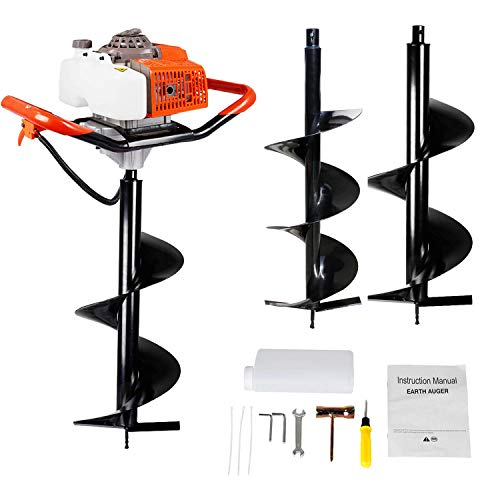 ECO LLC 63CC Heavy Duty Gas Powered Post Hole Digger with Two Earth Auger Drill Bits (10