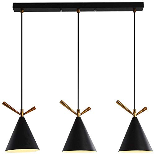WEM Lámpara colgante para comedor con 3 cabezas de altura ajustable, lámpara colgante moderna y simple, pantalla cónica de metal negro, lámpara colgante para mesa de comedor, isla de cocina, barra, l