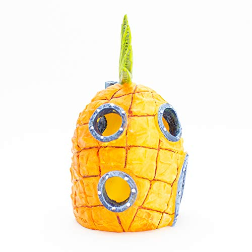 Penn-Plax Officially Licensed Nickelodeon SpongeBob Aquarium Ornament – SpongeBob's Pineapple House - Perfect for Fish to Swim In and Around - Full Color 6