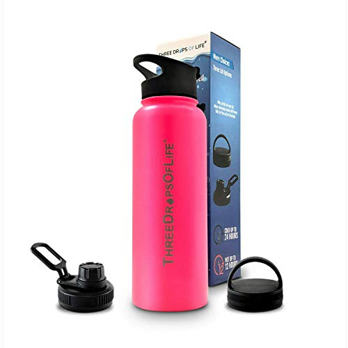 Three Drops of Life Double Wall Stainless Steel 40oz Water Bottle, Vacuum Insulated for Best Hot and Cold Liquids, Includes 3 Different Lids, Strong for Indoor and Outdoor Activities (Pink, 40oz)