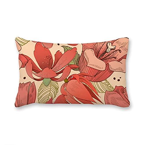 happygoluck1y Fundas de cojín rectangulares de terciopelo con flores rojas de coral, 30 x 50 cm, funda de almohada decorativa para sofá y niñas y mujeres