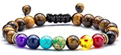 【Size】The Size of Tiger Eye Bracelet is Adjustable. Its Minimum Size is 6.5inch, The Maximum Size is 9.4inch. 【Gift】Suitable size bracelet for women and men wearing. This bracelet is a perfect gift for women and men. 【Tiger Eye Stone】Tiger eye have a...