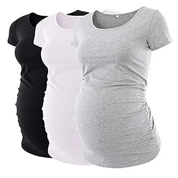 Liu & Qu Womens Maternity Classic Side Ruched T-Shirt Tops Mama Pregnancy Clothes Black White Grey M