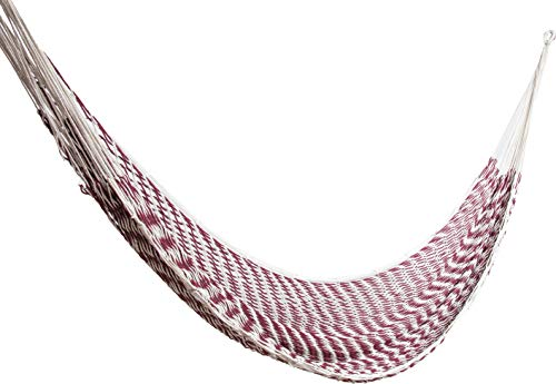 ALL NAHLO Cotton Hammock Free Drawstring Portable Carry Bag Lightweight Hammocks Swing Person Tree Stand Camping Rope Outdoor Tent net Straps Bed Fabric Quilted Patio Kids Camp (Individual, Burgundy)