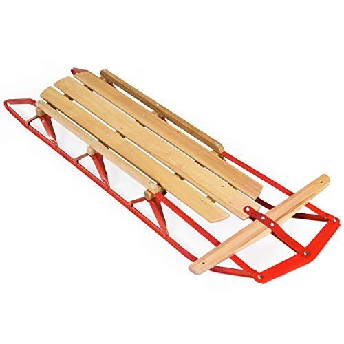 "Goplus Wood Sled, 54"" Steel & Wood Sled Pull Steering Snow Slider..."