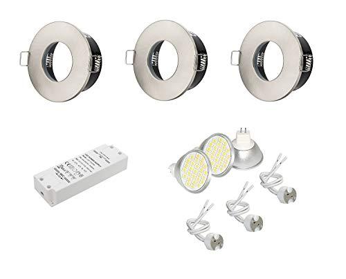 3er Set Bad Einbaustrahler Farbe Edelstahl gebürstet 12V mit 4,5W LEDs warmweiß und LED Trafo