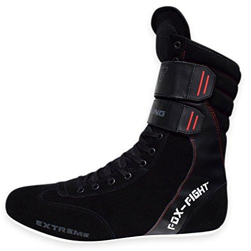 Extreme Boxstiefel Aus Echtem Leder Professionelle Hochwertige Qualität Boxen Boxing Schuhe Boxschuhe Box Hog Boots FOX-FIGHT44 - Schwarz