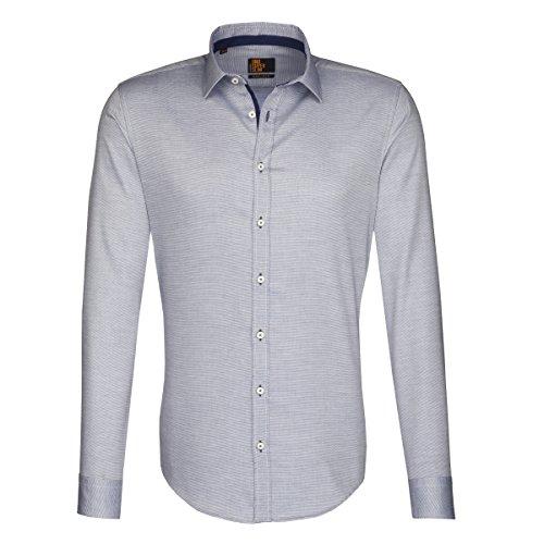 Seidensticker Herren MODERN Kent PATCH2 Freizeithemd, Blau (blau 16), Kragenweite: 37 cm