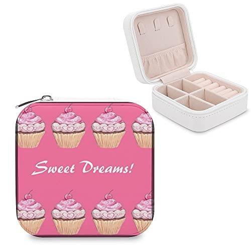 Sweet Dreams Schmuckkästchen für Mädchen, rosa Cupcakes, für Pyjama-Partys, kleine Schmuckschatulle, Schmuck-Aufbewahrungsbox, Ringe, Ohrringe, Halsketten-Organizer, PU-Leder für Frauen und Mädchen