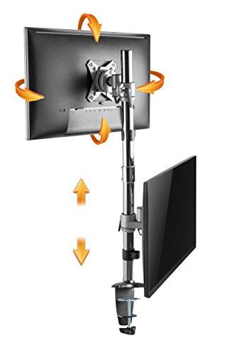 RICOO Supporto Monitor montaggio di tavolo per schermo TS3511 Staffa per 2 monitor Supporto doppio monitor orientabile staffe colonna per monitor schermo piatto VESA 100x100