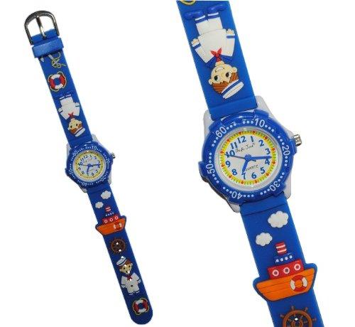 alles-meine.de GmbH 3-D Kinderuhr Schiff - Uhr Kinder Armbanduhr Silikon Matrose Steuerrad Wasser Jungen blau Analog