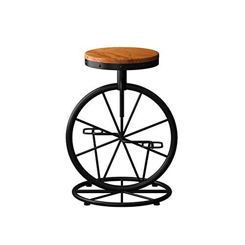 Yinggexu, sedia da pranzo in legno massello, sedia da bar in stile americano, stile vintage, in legno antico, sgabello da bar, sedia creativa, sedia da tavolo, sedia da caffè, 53 x (60 – 70) cm