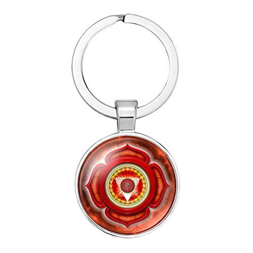 WZLDP Runder Schlüsselhalter Religiöses Yoga Sieben Chakra Schlüsselanhänger Zeit Edelstein Glas Schlüsselbund (Color : #1)