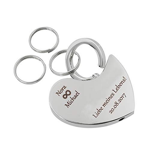 Glücksbringer Herz Schlüsselanhänger mit Gravur, Schlüsselanhänger Liebe individuell für Frauen und Männer, Geschenk für Pärchen, Papa oder Mama personalisiert mit Unendlichkeitszeichen