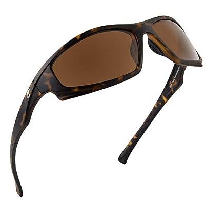 Calamus Turmoil Polarized Sport Sunglasses for Men and Women,Matte Demi Frame,Brown Lens