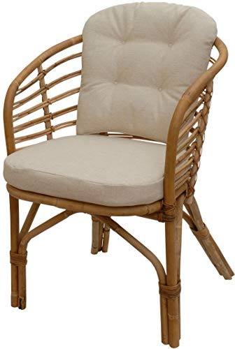 Modern wicker chair in Scandinavian style armchair with upholstery made from untreated natural rattan