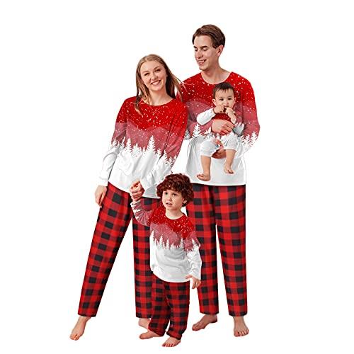Pyjama Set Familie Damen Lang Herren Kinder Mädchen Junge Weihnachten Nachthemd SchlafanzugPyjamas Winter WeihnachtspyjamaNachtwäsche Hausanzug Schlafshirt Sleepwear Family Weihnachts Schlafanzüge