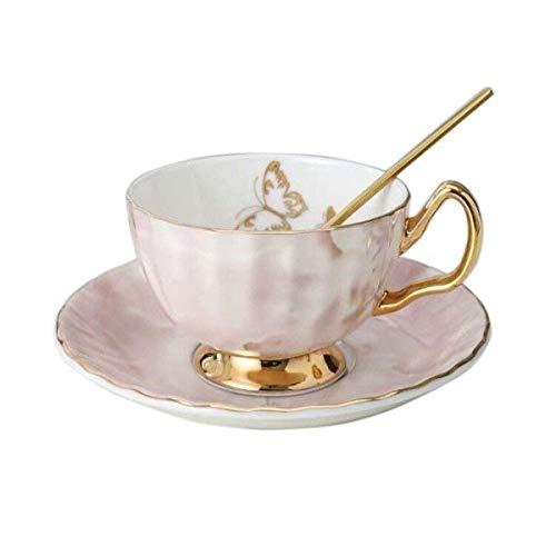 KDMB Juego de Taza y platillo de Porcelana de Hueso, Taza de café de té de cerámica para el Desayuno, té de la Tarde, Serie Butterfly and Elegance (Rosa)