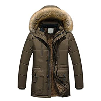 Teresamoon Men Winter Warm Hooded Zipped Thick Solid Fleece Coat Cotton-padded jacket  Most Wished & Gift Ideas