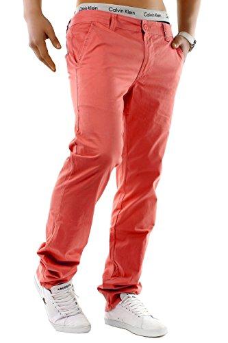 Pantalon Homme Chino Jeans Stretch Slim Fit Basic Fabric Pants, Couleurs:Rose Saumon, Taille de Pantalon:W30