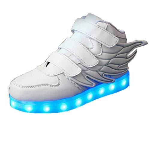 Kinder high top Sneakers doppelflügel leichte Flamme Schuhe Schuhe Jungen mädchen Herbst und Winter Leder LED Lichter Anti Skid Flache Turnschuhe