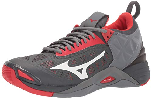 Mizuno Men's Wave Momentum Volleyball Shoe, high risk red-grey, 10 D US