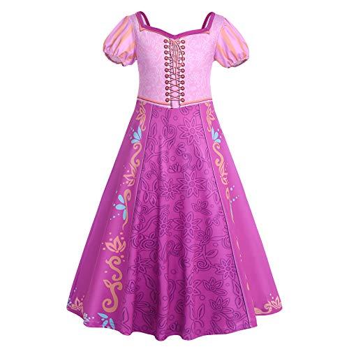 IBAKOM Disfraz Princesa Rapunzel Nia Vestidos Carnaval Fiesta Halloween Cosplay Navidad Vestirse Hadas Cumpleaos Sofia Ceremonia Accesorios Morado 5 3-4 aos